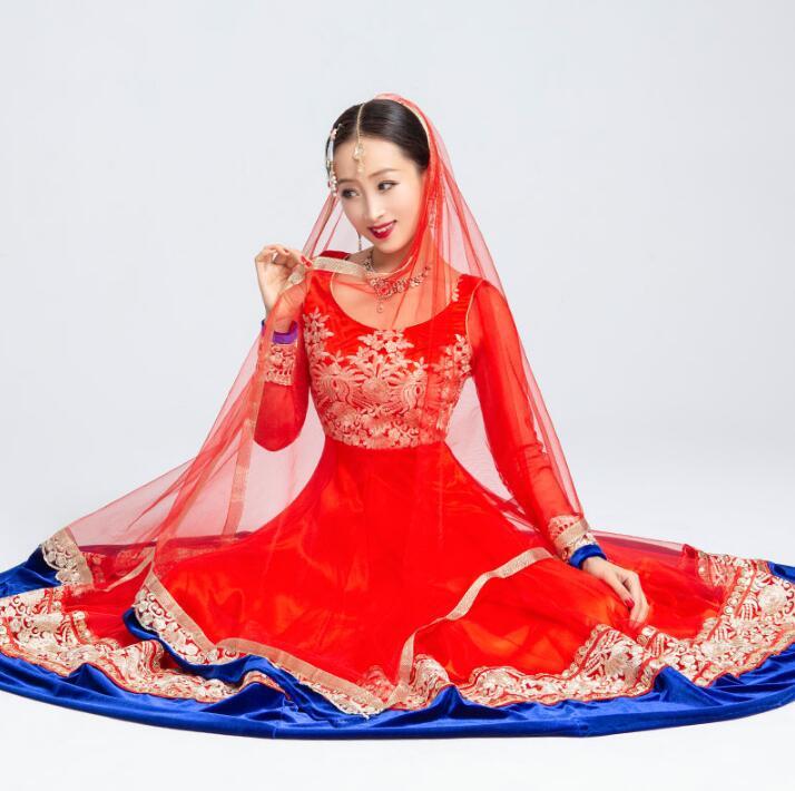 India Sarees Traditional Costume Kurtas Girl Woman Performance Dance Suits Dress+Scarf