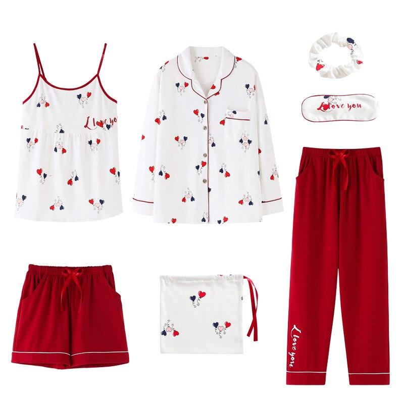 Image 5 - 2020 summer Cotton Pajamas for Women 7 Pieces Set cotton Sleepwear Home Clothes Female v neck Shorts Pants  sexi sleep wearPajama Sets   -