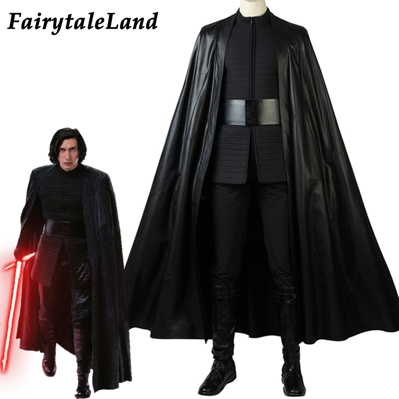 Star Wars The Last Jedi Kylo Ren Cosplay Costume Halloween Costumes Adult Men Outfit Kylo Ren Suit Boots Custom Made Cloak Belt