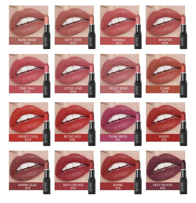IMAGIC öpücük parlak ruj 16 renk su geçirmez Pigment çoklu renk taşıması kolay mat Batom