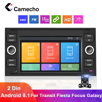 Camecho 2 Din Android 8.1 Car radio Multimedia Video Player GPS Navigation Autoradio For Transit Fiesta Focus Galaxy Mondeo Kuga image