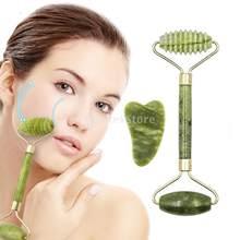 Guasha Board Gesichts Massage Roller Doppel Köpfe Natürliche Jade Stein Facelift Körper Haut Entspannung Abnehmen Schönheit V Facelift