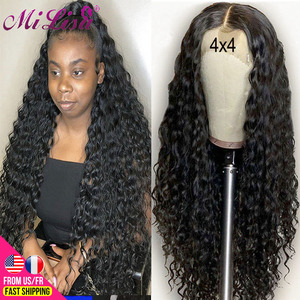 30 Inch Deep Wave Wig Curly Human Hair Wigs For Women Pre Plucked Hairline with Baby Hair Remy Peruvian 4x4 Lace Closure Wig Bob(China)