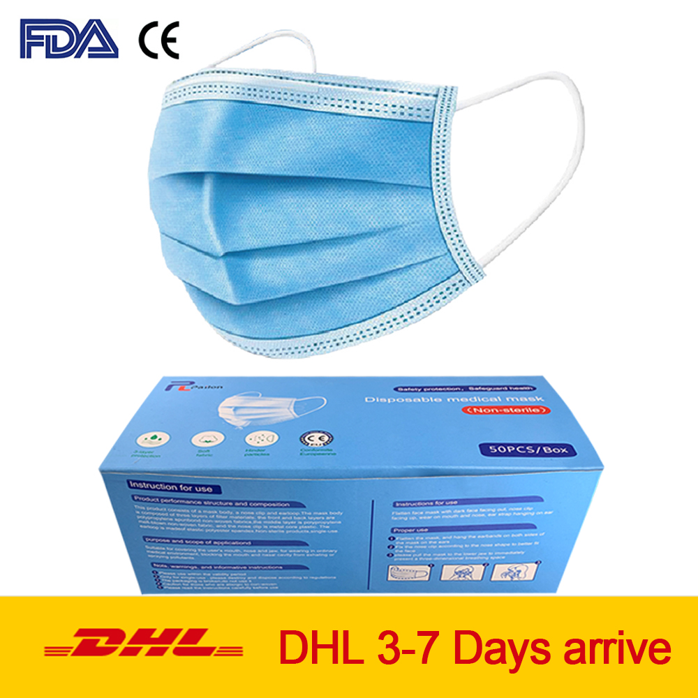 CE FDA 3-layer Protective Disposable Mouth Face Masks Anti-bacterial Elastic Ear Loop Dust Filter Safety Mask 10/20/50/100 Pcs