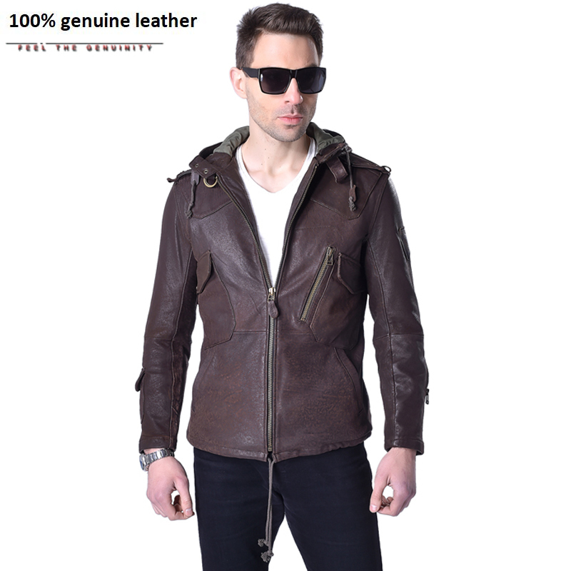 Factory Men's Genuine Leather Jacket Hooded Real Sheep Cow Skin Brand Casual Slim Fit Man's Coat Motorcycle Spring Autumn ZH141