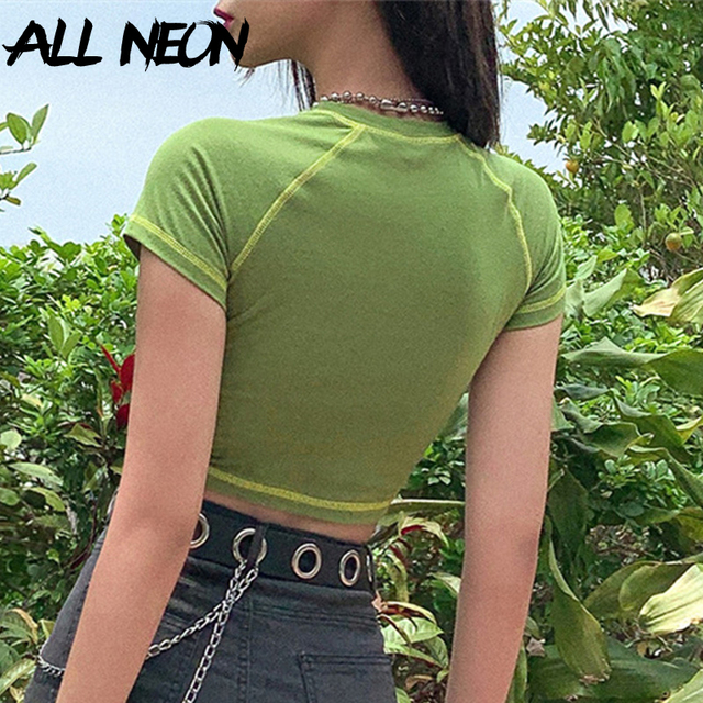 ALLNeon E-girl Butterfly Graphic and Letter Printing Stitch Green Crop Tops Y2K Summer Grunge Style O-neck Short Sleeve T-shirts 2
