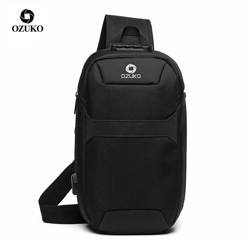 OZUKO Men Anti-theft Crossbody Bags Male Oxford Waterproof USB Charging Chest Pack Sling Bag Short Trip Messenger Shoulder Bag