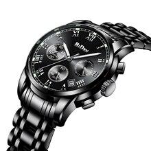 BIDEN Luxury Business Men Watch Black Stainless Steel Fashion Male Quartz Watches Top Brand Date Multifunction Waterproof Clocks