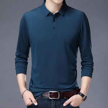 Wysokiej jakości męskie koszulki Polo koszulki Polo z długim rękawem mężczyźni Plus rozmiar M-6XL jedwab Business Casual Polo para hombre tanie i dobre opinie ZHAN DI JI PU Pełna CN (pochodzenie) Szczupła Smart Casual NONE Stałe Tencel Anty-pilling M L XL XXL XXXL 4XL 5XL 6XL