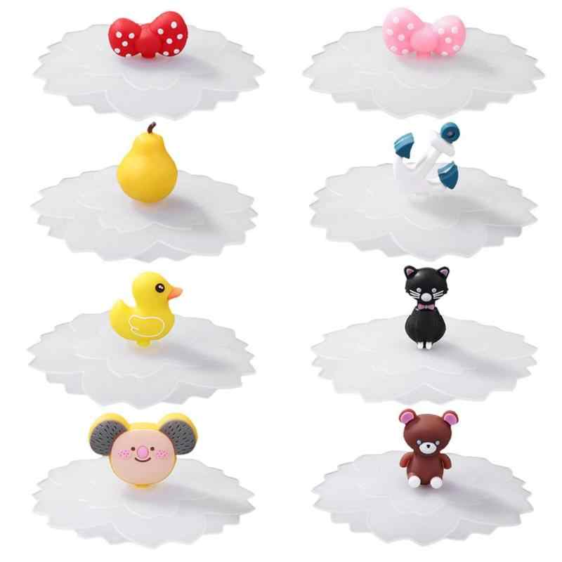Cute Water Drinking Cup Lid Silicone Anti-Dust Bowl Cover Cup Seals Glass Mugs Cap Universal Reusable Silicone Stretch Lids