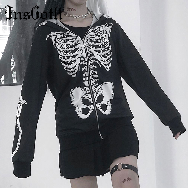 InsGoth Skull Printed Women Hooded Sweatshirts Gothic Halloween Party Black Hoodies Loose Oversize Female Zipper Swearshirts