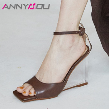 ANNYMOLI Ankle Strap Women Sandals Real Leather Super High Heel Shoes Square Toe Crystal Wedges Heels Ladies Sandals Apricot 40