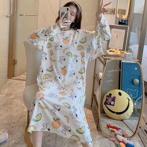 Image 4 - Caiyier zima 2020 kobiet koszula nocna z długim rękawem O Neck koronkowa koszula nocna luźna Casual Sleepshirt dziewczyna z torebka koszula nocna domowa