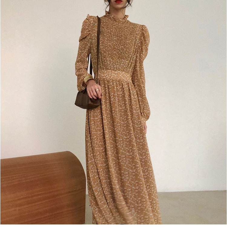 H23c2c642088846c7b4b17d64c94e2769c - Autumn Stand Collar Long Sleeves Waist-Controlled Floral Print Maxi Dress