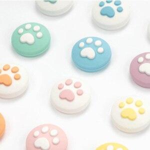 Image 5 - 4pcs חמוד חתול Paw טופר אגודל מקל אחיזת כובע ג ויסטיק כיסוי עבור Nintend מתג לייט NS שמחה קון בקר Gamepad Thumbstick מקרה