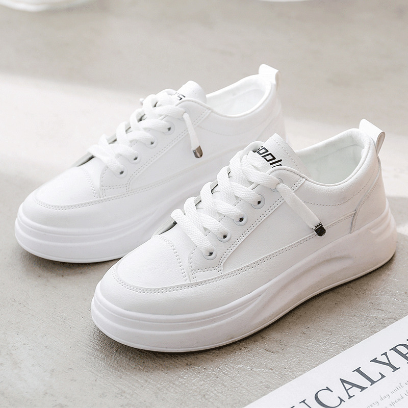 SWYIVY Casual Shoes Women Sneakers Platform PU White Sneakers For Women 2020 Spring Fashion Flat Shoes Ladies Breathable Sewing