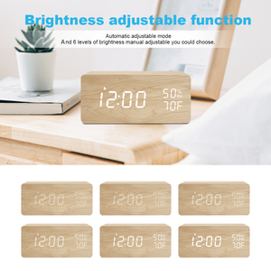 Image 4 - FiBiSonic LED Wooden Alarm Clock Sound Control Digital Alarm Clock USB/Battery Dimmer Indoor Snooze Thermometer Table Clock