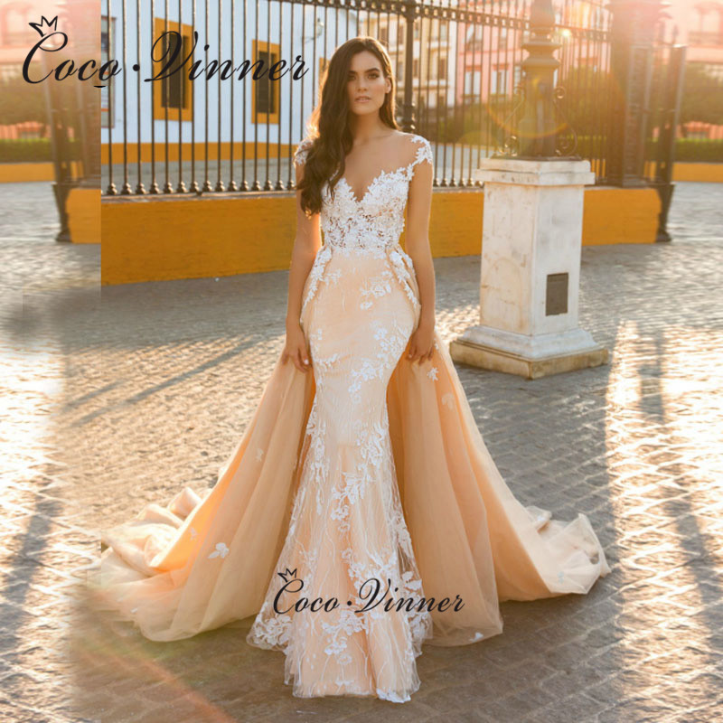 Cap Sleeves Appliques Detachable Wedding Dresses Champagne Trumpet Wedding Gown Embroidered Lace On Net South America W0601
