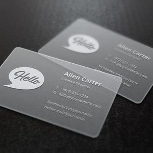 200 шт./лот Индивидуальные прозрачные визитовые открытки из ПВХ индивидуальная печать прозрачных/морозных визиток