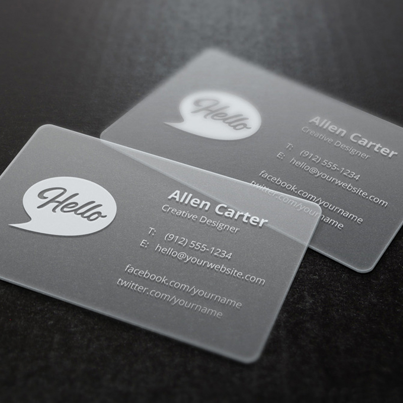200 Pcs/lot Custom Transparent PVC Visit Cards Customized Clear/frost Business Card Printing