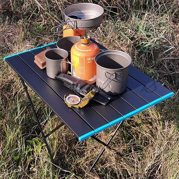 Dwa rodzaje stylu przenośne stoliki kempingowe z stół aluminiowy Top twardy składany stół w torbie na piknik obóz tanie i dobre opinie Lighten Up CN (pochodzenie) aluminum alloy folding table