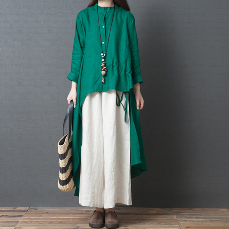 Autumn Clothing Women's 2019 New Style Large Size Dress-Style Elegant Flax Solid Color Ethnic-Style Long Dress