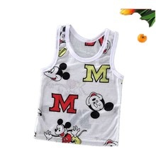 Baby Boys Mickey T-shirt Brand Designer Baby Vest Girl Shirt Toddler Girl Shirts Summer Ultra-thin Ice Silk Clothes(China)