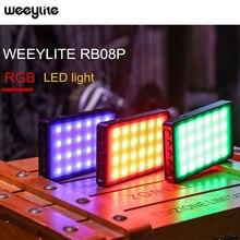 Weeylite RB08 RB08P RGB 2500K 8500K مصباح فيديو LED صغير يملأ ضوء بطارية مدمجة للهاتف لاستوديوهات التصوير