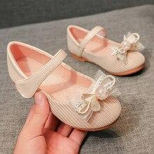 2020 Children's  Shoes Pearl Bow Princess Shoes  Children's Versatile Flat-bottomed Bean Shoes Sweet Princess Shoes sweet shoes f20 ks1807