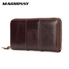Men's Zipper Clutch Men Long Wallet High Quality Genuine Leather Wallet Card Holder Handy Bag with Phone Pocket male Purse(China)