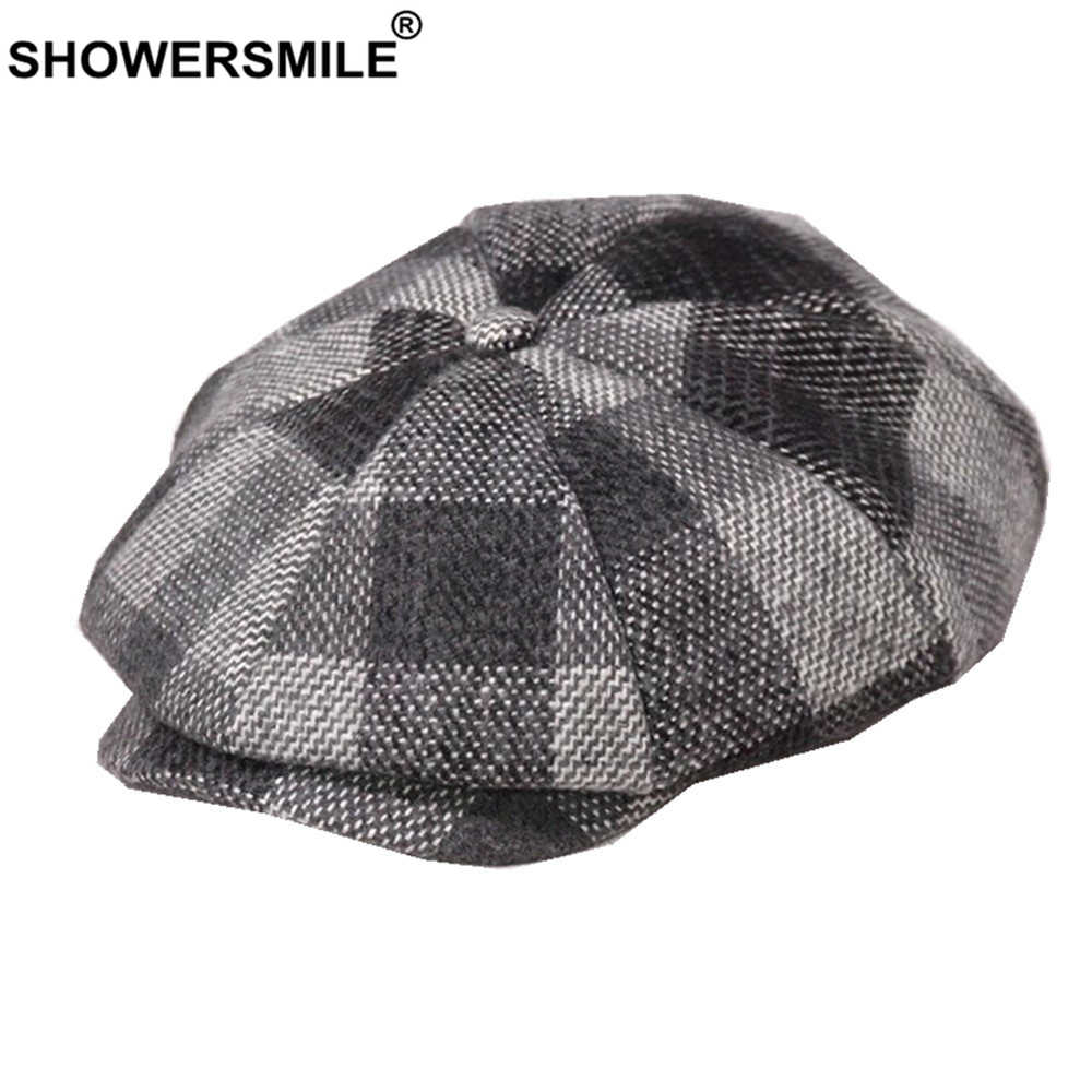 Showersmile Merah Plaid Patchwork Newsboy Topi Wol Musim Dingin Topi untuk Wanita Pria Oktagonal Cap Tweed Gaya Inggris Datar Baret Topi