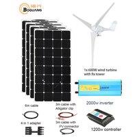 1100W Wind Hybrid solar system DIY kit 600W wind turbine 400W solar panel home house module mobile dc 12v 24v off grid