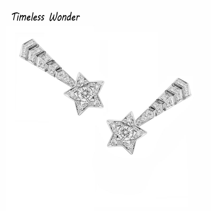 Timeless Wonder Glam Crystal Zirconia Star Statement Stud Earrings Women Jewelry Gothic Boho Designer Top Rare Punk Fancy 2191