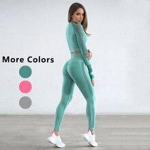 Женский однотонный комплект для йоги с длинным рукавом, полый фитнес-Йога для женщин, дышащие леггинсы+ укороченные рубашки, плотная Спортивная одежда для бега