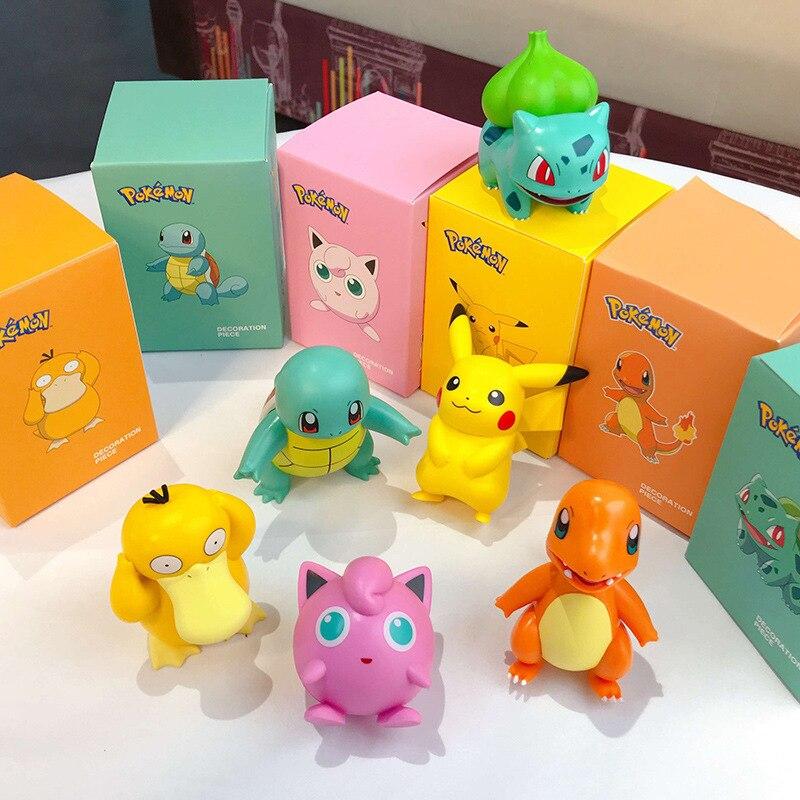 POKEMON Charmander Cleffa Pikachu Bulbasaur Squirtle Psyduck Pocket Monster Poké Model Action Figure One Piece Toy For Kids gift 2