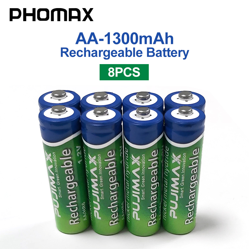 PHOMAX 8pcs/lot <font><b>1.2V</b></font> <font><b>AA</b></font> <font><b>rechargeable</b></font> camera <font><b>battery</b></font> <font><b>1300mAh</b></font> for pre-charging NiMH <font><b>batteries</b></font> microphone toys radio alarm clock image