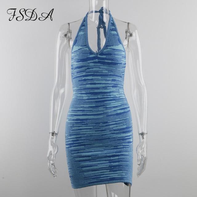 FSDA 2021 V Neck Knitted Dress Bodycon Blue Women Halter Neck Backless Bandage Summer Beach Sleeveless Sexy Mini Dresses Y2K 5