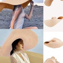 Fashion Large Sun Hat Beach Anti-UV Sun Protection Foldable Straw Sombrero Lace Up Brim Beach Straw