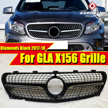 X156 Grille Diamonds Front Grills For MercedesMB GLA Class GLA180 GLA200 GLA250 Look Grill Without Sign ABS Black 2017-2018