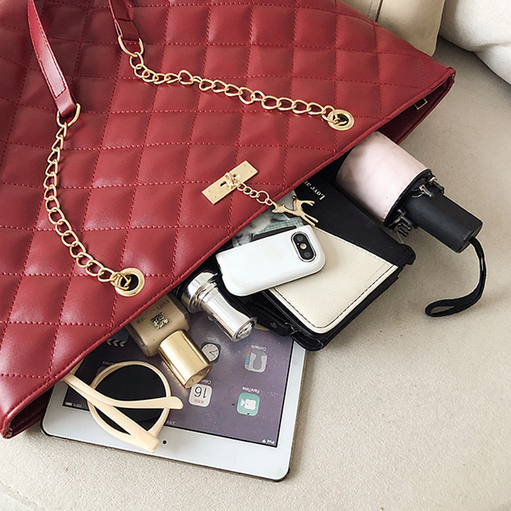 Women Handbag PU Leather 2020 Designer Brand Luxury Chain Shoulder Messenge Crossbody bag Large Capacity Office Lady Bag 2