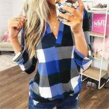 2019 Herfst Winter Vrouwen Blouses Vintage Sexy Hollow Out V-hals Plaid Casual Befree Lange Mouw 5XL Grote Grote Plus maten Shirts(China)