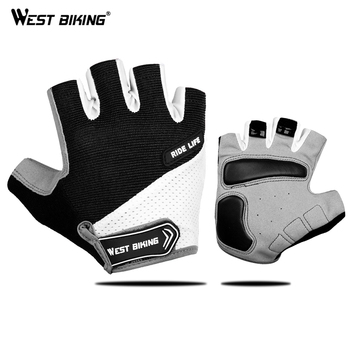 WEST BIKING Half Finger Cycling Gloves Outdoor Sports MTB Bicycle Gloves Pad Breathable Bike Motorcycle Fishing Cycling Gloves фото