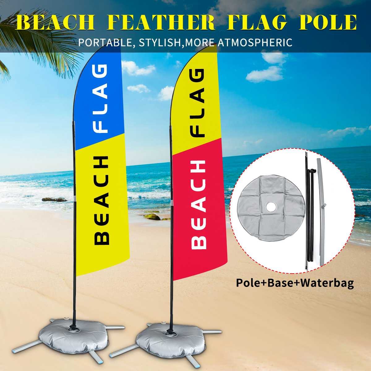 2.8m Advertising Banner Beach Flag Pole Set Aluminum Alloy Pole Waterbag Base Kit Outdoor Flutter Display Banners Decoration