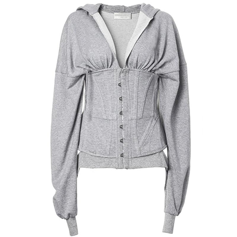 Women Corset Hoodies Lace Up Spring Autumn High Waist Tunic Hoodie Sweatshirt Tracksuit High Street 2020