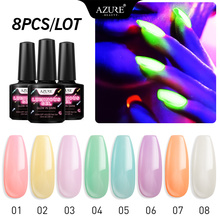 Azure Beauty 8Pcs/lot Luminous Nail Gel Fluorescent In The Dark Led Gel Nail Lacquer Soak Off Long Lasting Chameleon Gel Varnish