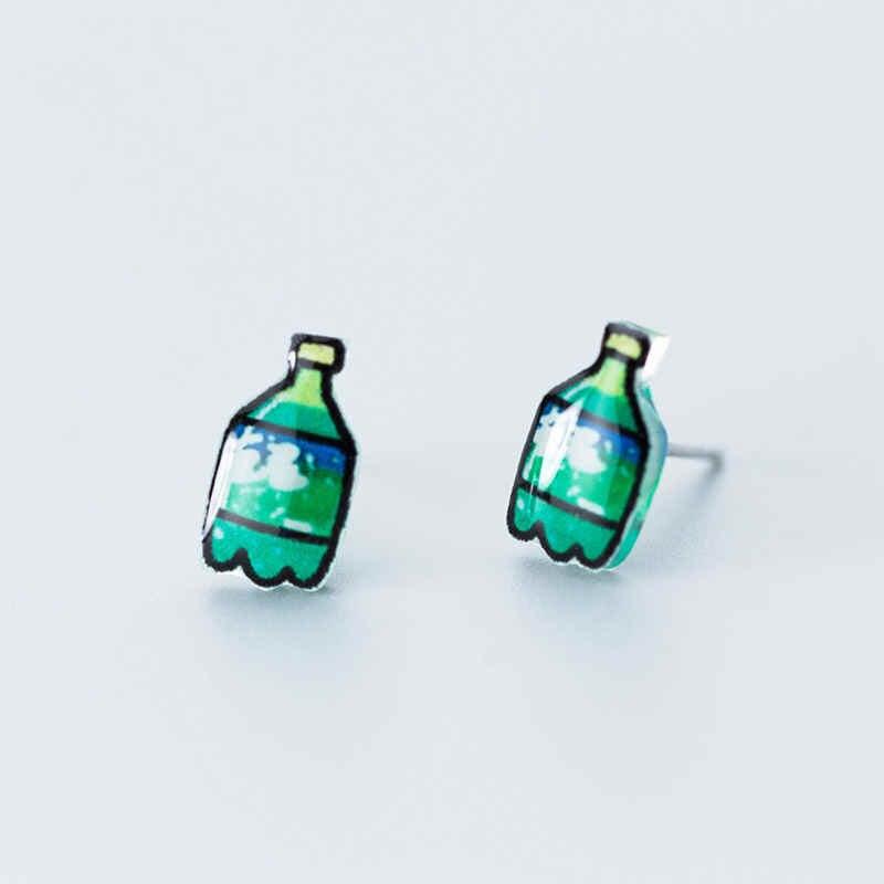 Inzatt Nyata 925 Sterling Silver Buah Hijau Botol Akrilik Stud Anting-Anting untuk Fashion Pesta Wanita Perhiasan Aksesoris Lucu