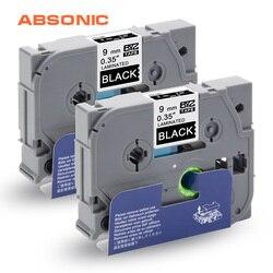 Absonic 2 pièces TZe Ruban TZe-325 TZ-325 Blanc sur Noir 9mm * 8m pour Frère P-touch CUBE PT-D210 PT-H110 PT-D400 PT-D600 Étiquette Imprimantes