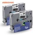 Absoonic 2 шт. TZe лента TZe-325 TZ-325 белый на черном 9 мм * 8 м для Brother P-Touch CUBE PT-D210 PT-H110 PT-D400 тег принтеры