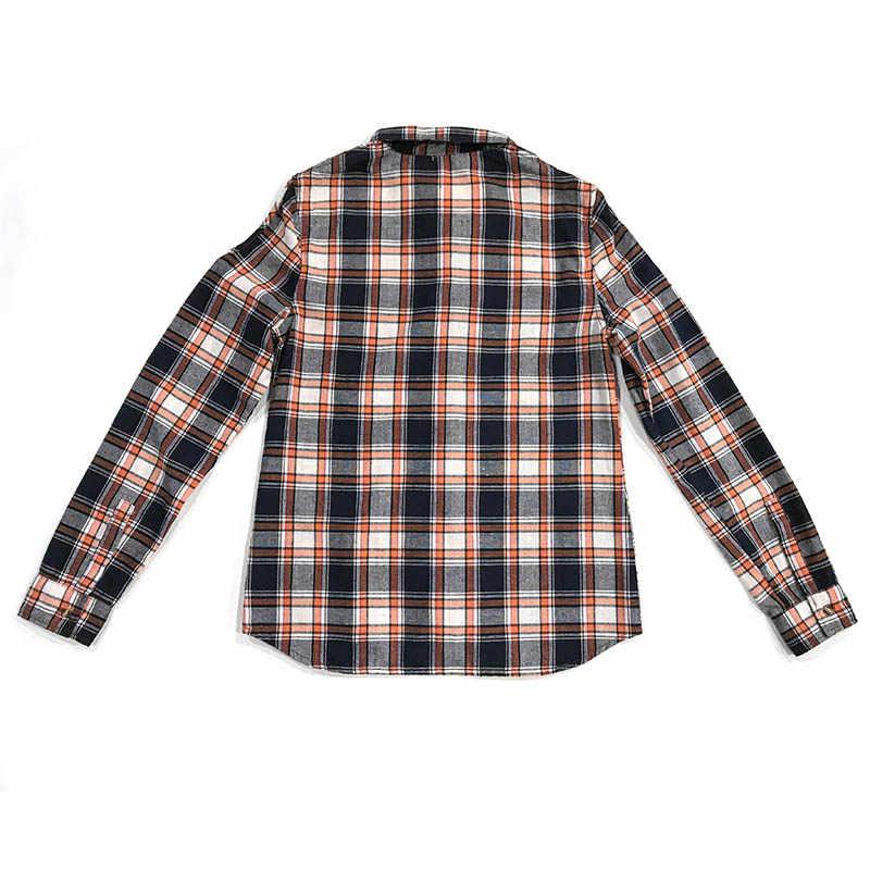 秋冬女性デニムシャツ中空ショルダー長袖綿 100% 洗浄格子縞の女性の女性ブラウストップ