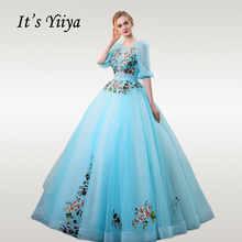 Its YiiYa Wedding Dress Elegant O-neck Embroidery Floor Length Ball Gowns Blue Half Sleeve Long Robe De Mariee CH184
